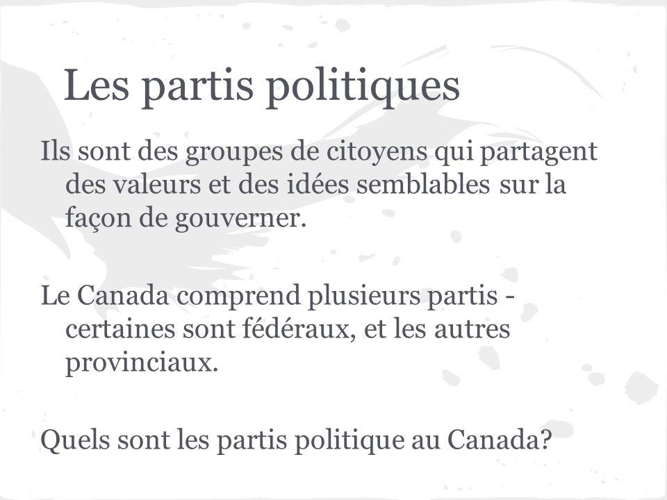 Les partis politiques Ils sont des groupes de citoyens qui partagent des valeurs et des idées semblables sur la façon de gouverner. Le Canada comprend