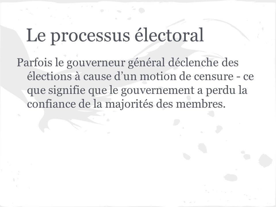 Le processus électoral Parfois le gouverneur général déclenche des élections à cause dun motion de censure - ce que signifie que le gouvernement a per