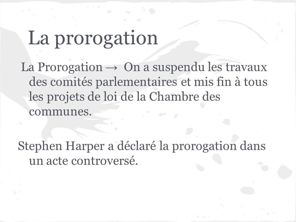La prorogation La Prorogation On a suspendu les travaux des comités parlementaires et mis fin à tous les projets de loi de la Chambre des communes. St