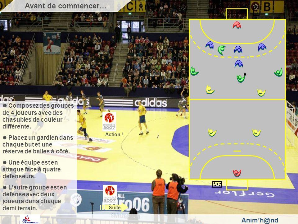 Animh@nd Composez des groupes de 4 joueurs avec des chasubles de couleur différente.