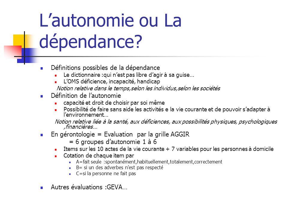 Lautonomie ou La dépendance.