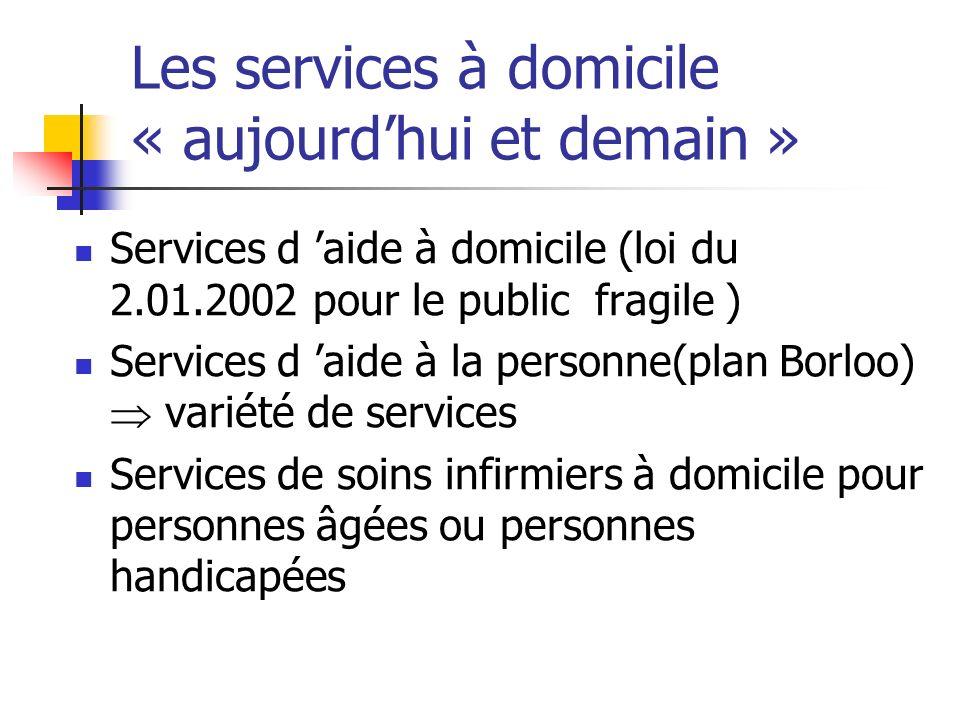 Les services à domicile « aujourdhui et demain » Services d aide à domicile (loi du 2.01.2002 pour le public fragile ) Services d aide à la personne(plan Borloo) variété de services Services de soins infirmiers à domicile pour personnes âgées ou personnes handicapées