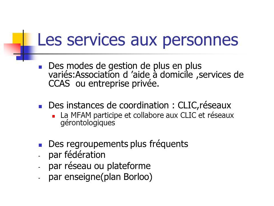 Les services aux personnes Des modes de gestion de plus en plus variés:Association d aide à domicile,services de CCAS ou entreprise privée.