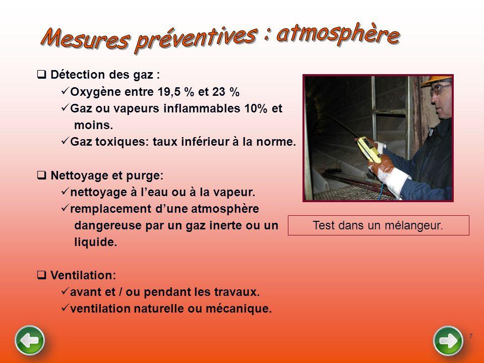 7 Détection des gaz : Oxygène entre 19,5 % et 23 % Gaz ou vapeurs inflammables 10% et moins. Gaz toxiques: taux inférieur à la norme. Nettoyage et pur