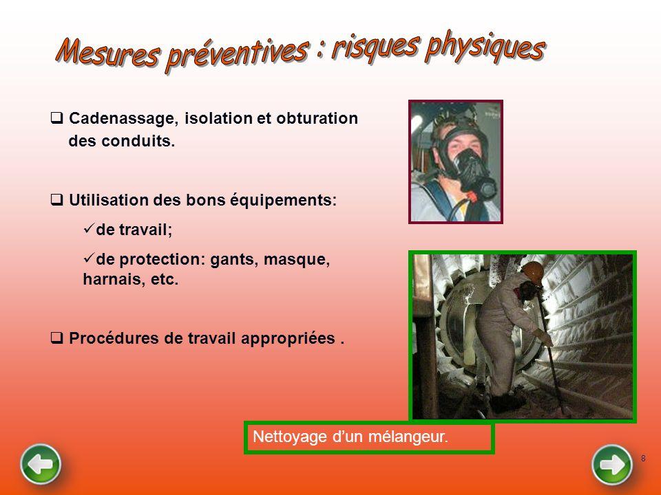 8 Cadenassage, isolation et obturation des conduits. Utilisation des bons équipements: de travail; de protection: gants, masque, harnais, etc. Procédu
