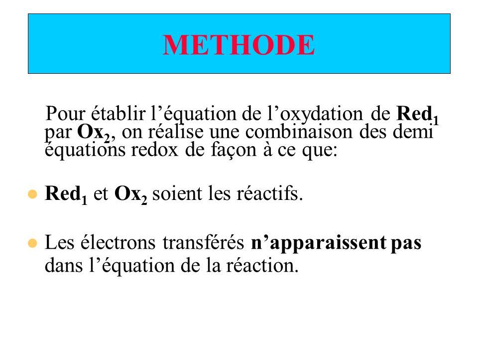 METHODE Pour établir léquation de loxydation de Red 1 par Ox 2, on réalise une combinaison des demi équations redox de façon à ce que: Red 1 et Ox 2 soient les réactifs.