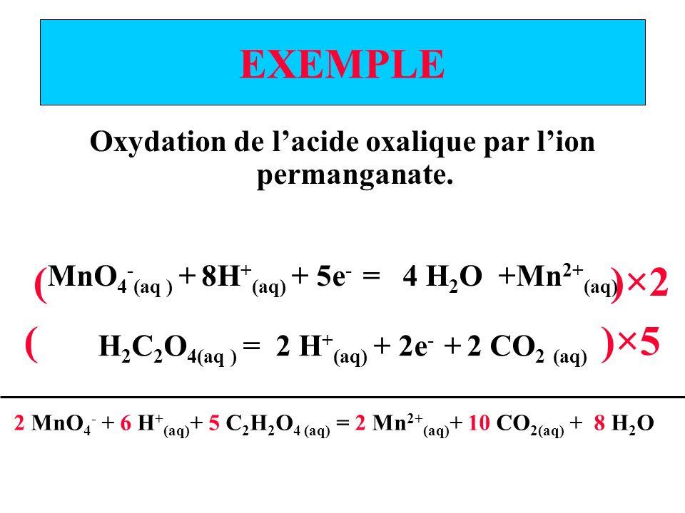 EXEMPLE Oxydation de lacide oxalique par lion permanganate.