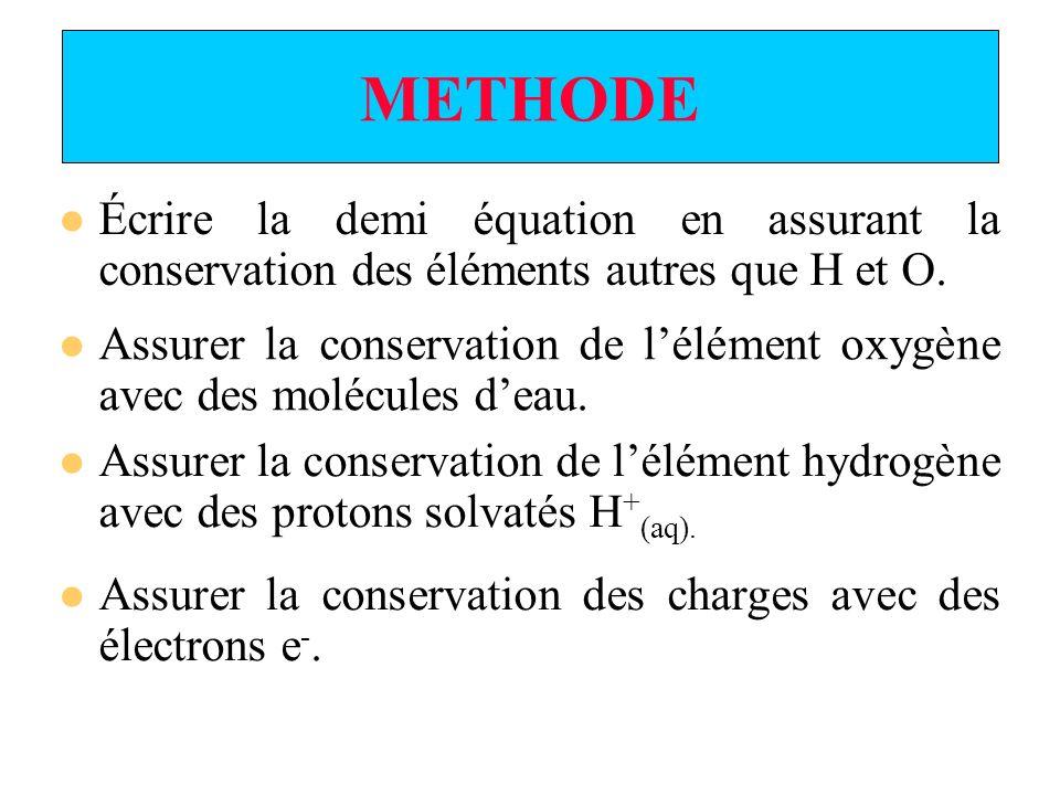 EXEMPLE Ox 1 / Red 1 Conservation de lélément carbone CO 2 (aq) = H 2 C 2 O 4 (aq) CO 2 (aq) / H 2 C 2 O 4 (aq) 2