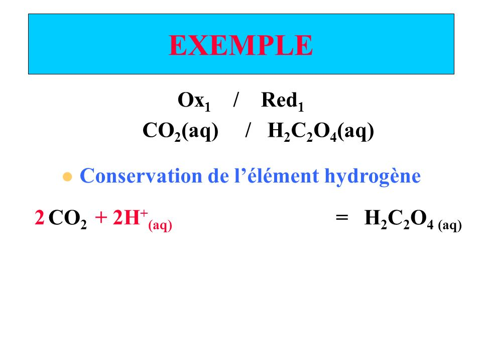 EXEMPLE Ox 1 / Red 1 Conservation de la charge CO 2 (aq) = H 2 C 2 O 4 (aq) CO 2 (aq) / H 2 C 2 O 4 (aq) 2 + 2e - + 2H + (aq)
