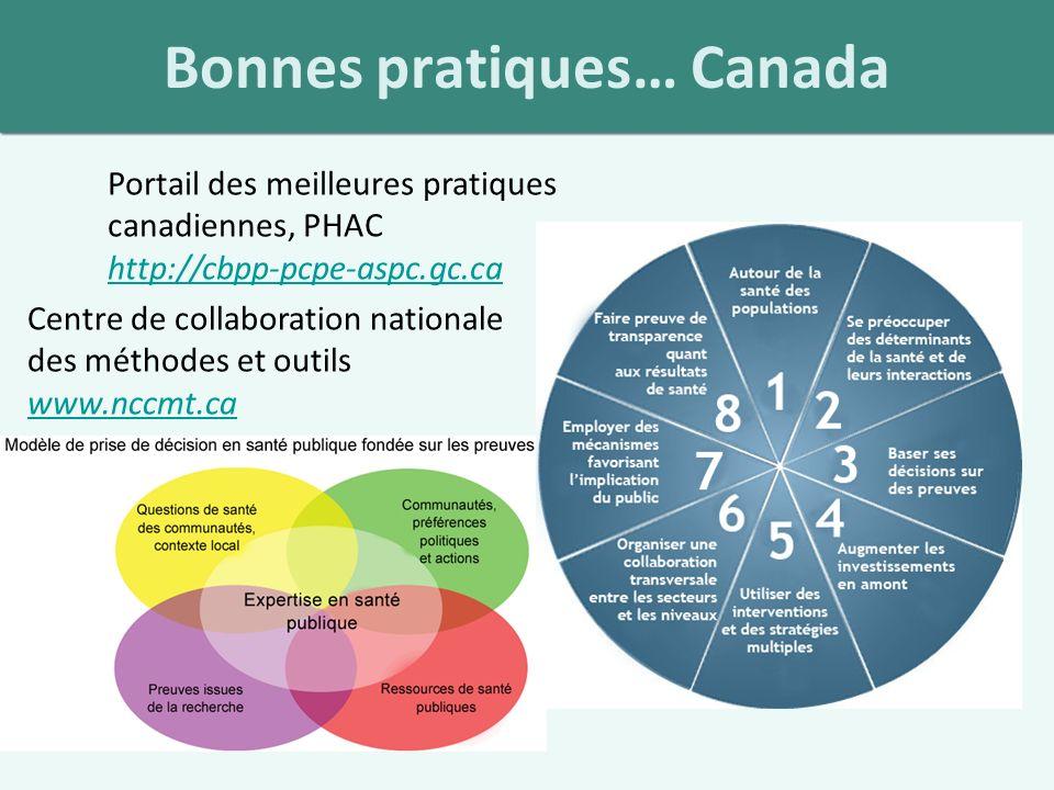 Bonnes pratiques… Canada Portail des meilleures pratiques canadiennes, PHAC http://cbpp-pcpe-aspc.gc.ca http://cbpp-pcpe-aspc.gc.ca Centre de collaboration nationale des méthodes et outils www.nccmt.ca www.nccmt.ca