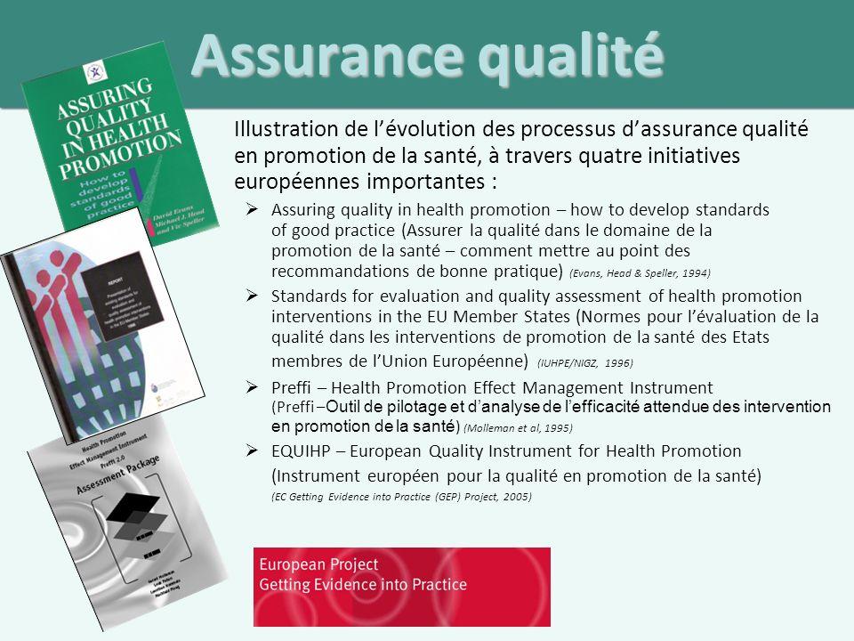 Assurance qualité – un processus systématique dans le cadre duquel les niveaux de qualité accessibles et recherchés sont décrits, le degré de réalisation de ces niveaux est évalué, et des actions consécutives à cette évaluation sont menées afin de permettre datteindre ces niveaux.