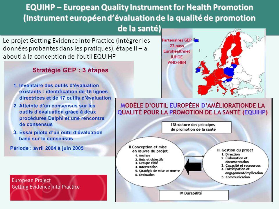 EQUIHP – European Quality Instrument for Health Promotion (Instrument européen dévaluation de la qualité de promotion de la santé) Le projet Getting Evidence into Practice (intégrer les données probantes dans les pratiques), étape II – a abouti à la conception de loutil EQUIHP