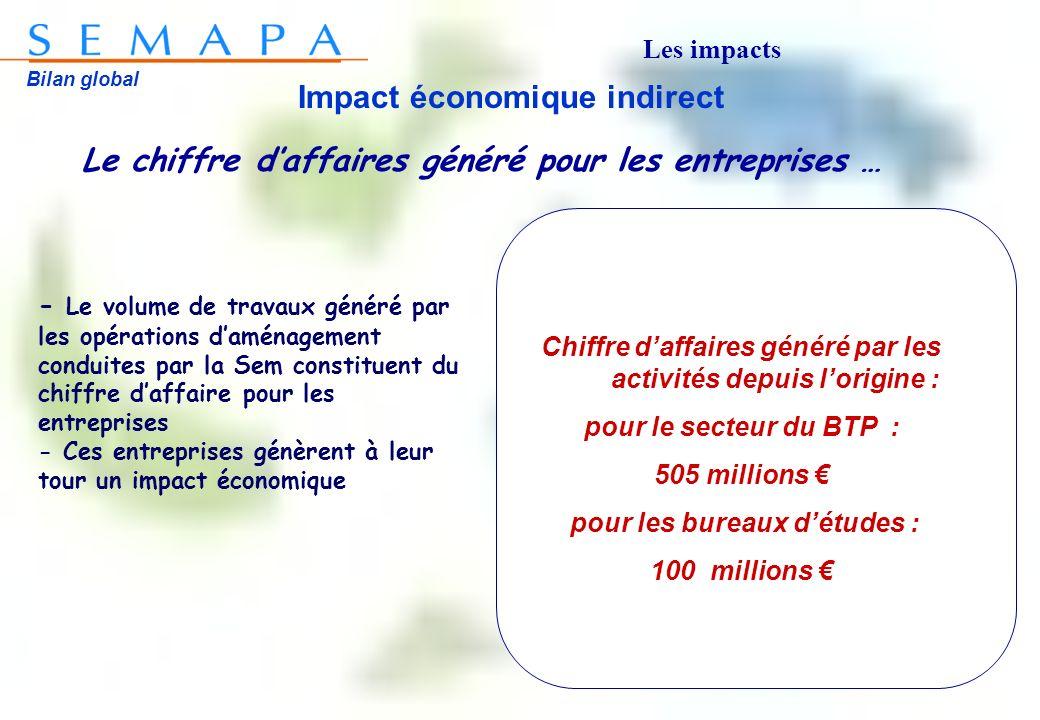 Bilan global Impact économique indirect Le chiffre daffaires généré pour les entreprises … Chiffre daffaires généré par les activités depuis lorigine