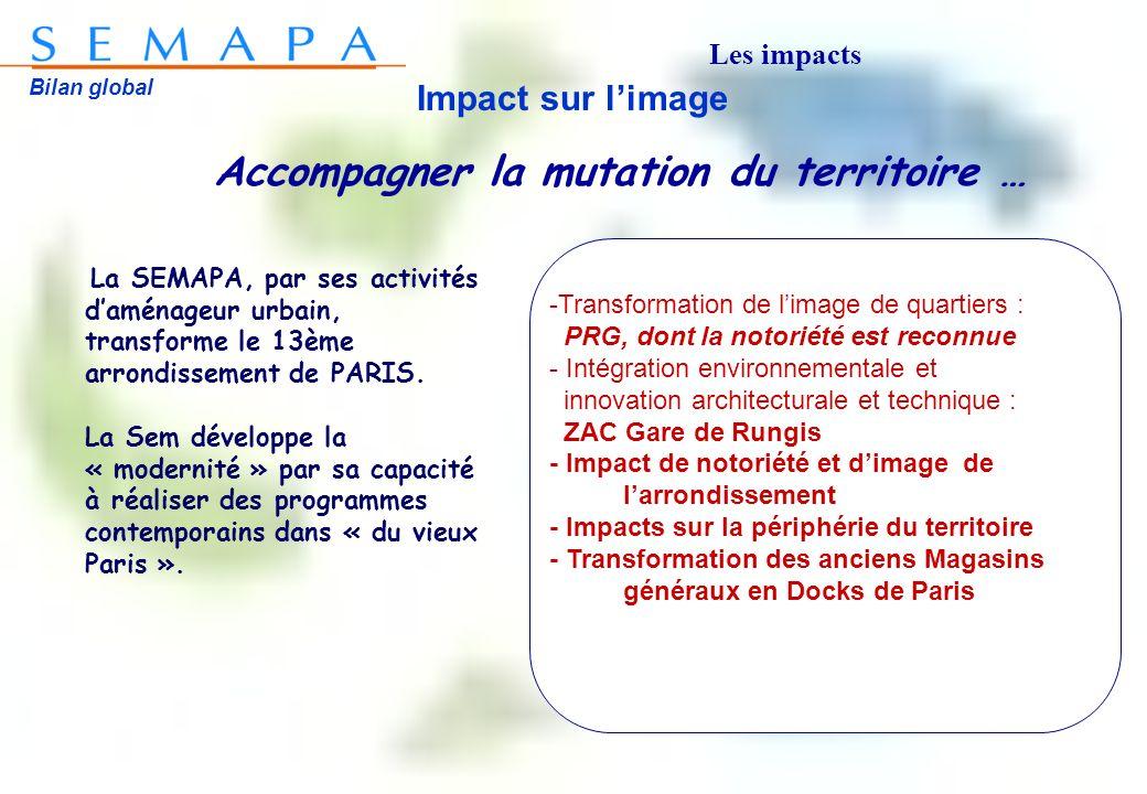 Bilan global Impact sur limage La SEMAPA, par ses activités daménageur urbain, transforme le 13ème arrondissement de PARIS. La Sem développe la « mode