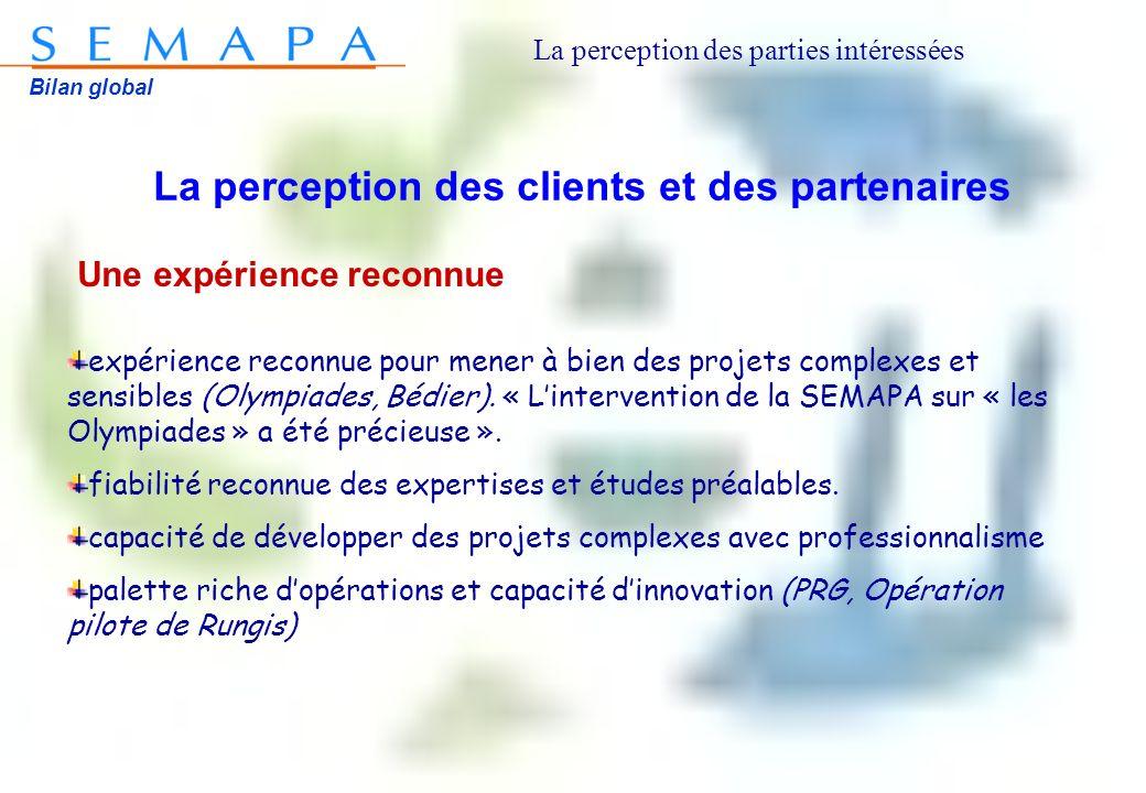 Bilan global La perception des clients et des partenaires Une expérience reconnue expérience reconnue pour mener à bien des projets complexes et sensibles (Olympiades, Bédier).