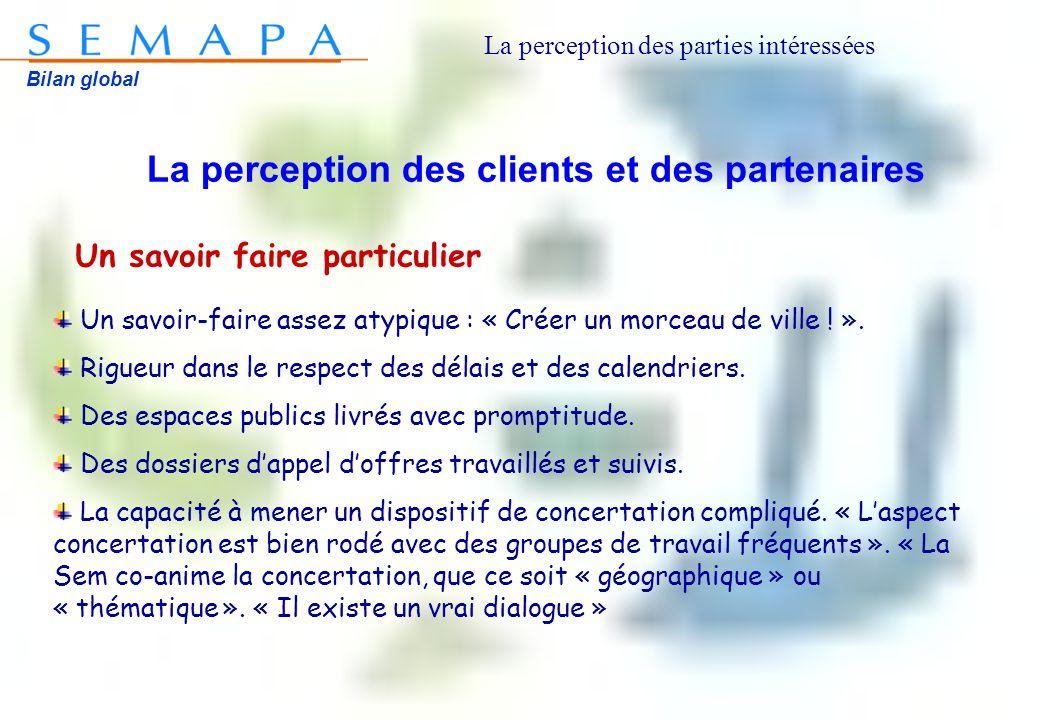 Bilan global La perception des clients et des partenaires Un savoir faire particulier Un savoir-faire assez atypique : « Créer un morceau de ville ! »