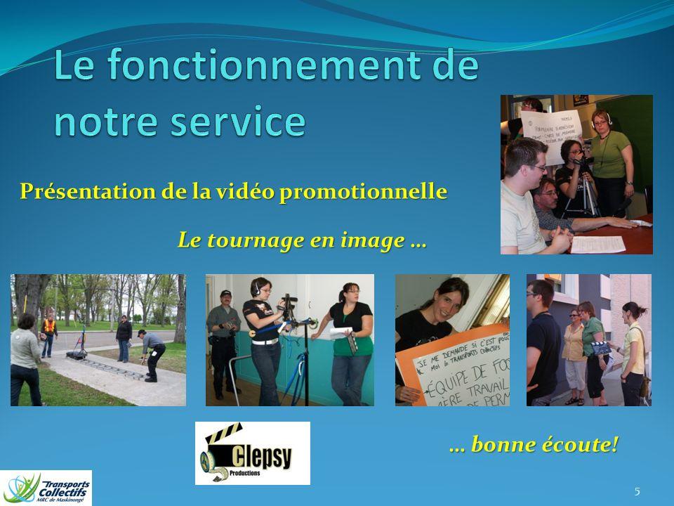 Présentation de la vidéo promotionnelle Le tournage en image … … bonne écoute! 5
