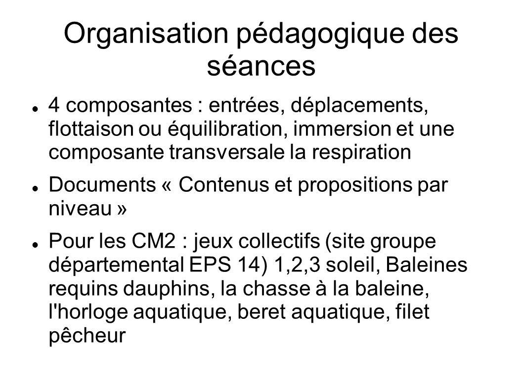 Organisation pédagogique des séances 4 composantes : entrées, déplacements, flottaison ou équilibration, immersion et une composante transversale la r