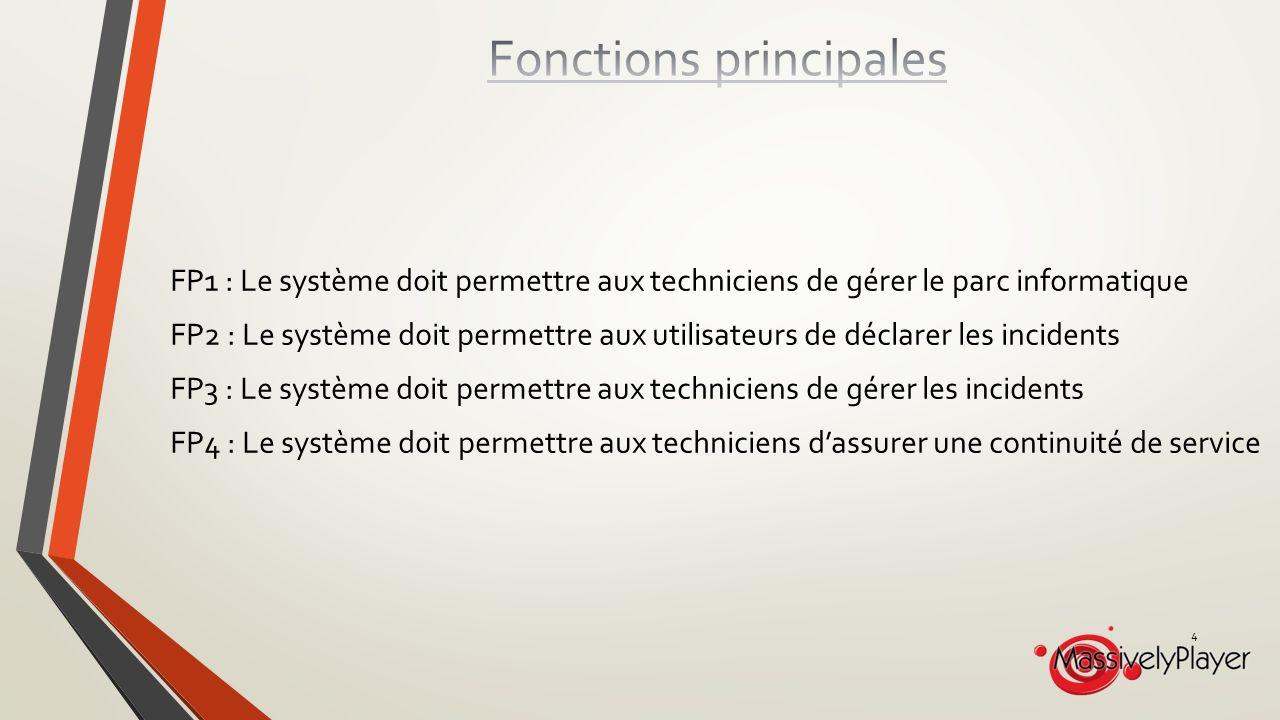 FP1 : Le système doit permettre aux techniciens de gérer le parc informatique FP2 : Le système doit permettre aux utilisateurs de déclarer les incidents FP3 : Le système doit permettre aux techniciens de gérer les incidents FP4 : Le système doit permettre aux techniciens dassurer une continuité de service 4