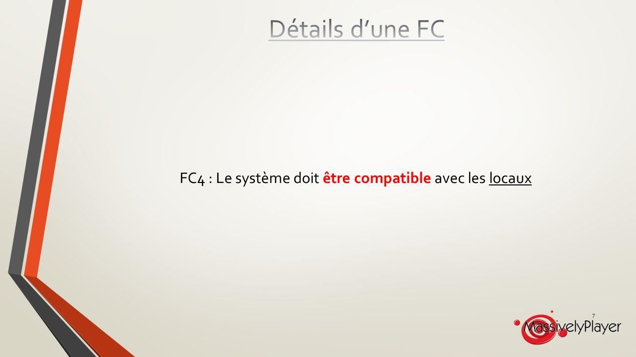 FC4 : Le système doit être compatible avec les locaux 7