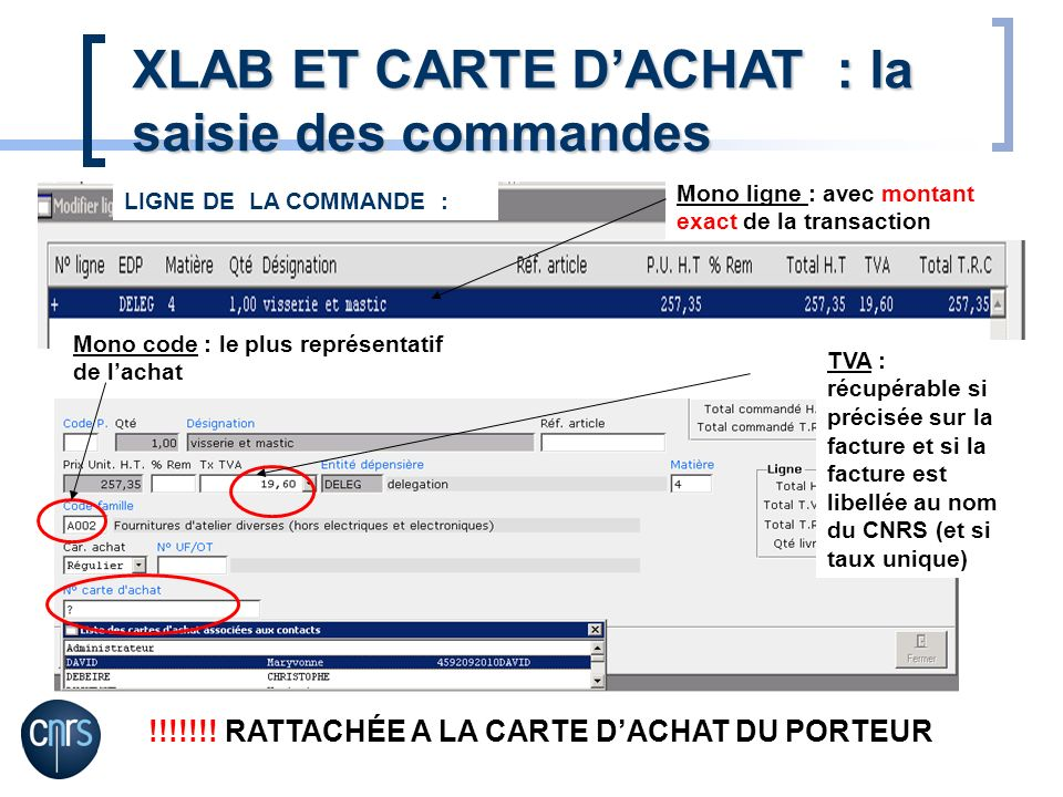 Mono ligne : avec montant exact de la transaction Mono code : le plus représentatif de lachat TVA : récupérable si précisée sur la facture et si la facture est libellée au nom du CNRS (et si taux unique) !!!!!!.