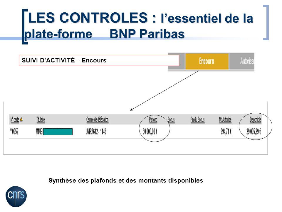 SUIVI DACTIVITÉ – Encours Synthèse des plafonds et des montants disponibles LES CONTROLES : lessentiel de la plate-forme BNP Paribas LES CONTROLES : lessentiel de la plate-forme BNP Paribas