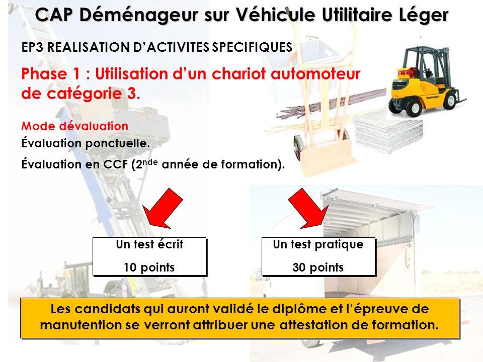 CAP Déménageur sur Véhicule Utilitaire Léger Phase 1 : Utilisation dun chariot automoteur de catégorie 3. EP3 REALISATION DACTIVITES SPECIFIQUES Les c