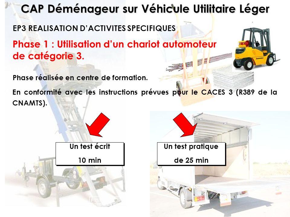 CAP Déménageur sur Véhicule Utilitaire Léger Phase 1 : Utilisation dun chariot automoteur de catégorie 3. Phase réalisée en centre de formation. EP3 R