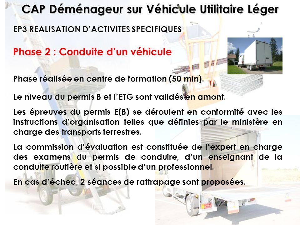 CAP Déménageur sur Véhicule Utilitaire Léger Phase 2 : Conduite dun véhicule Phase réalisée en centre de formation (50 min). EP3 REALISATION DACTIVITE