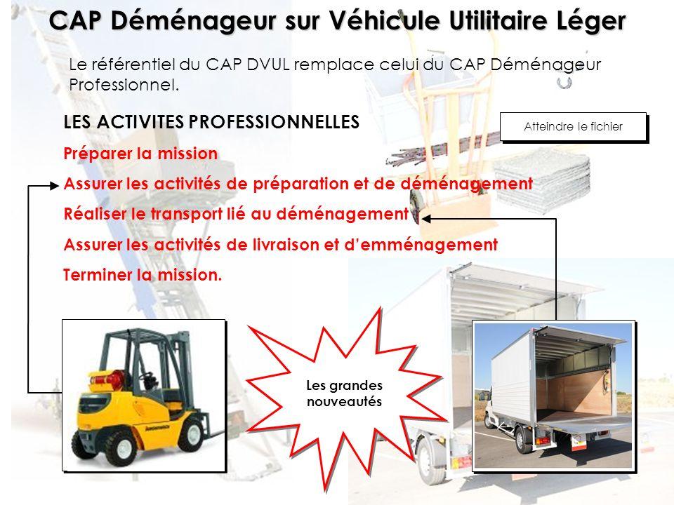 CAP Déménageur sur Véhicule Utilitaire Léger LES COMPETENCES Communiquer - Sinformer : de C1.1 à C1.2 Traiter - Décider : de C2.1 à C2.9 Réaliser : de C3.1 à C3.11 Atteindre le fichier LES SAVOIRS ASSOCIES Le déménagement et son environnement : S1 La conduite des véhicules : S2 Le véhicule et son déménagement : S3 La qualité dans le transport de déménagement : S4 Atteindre le fichier