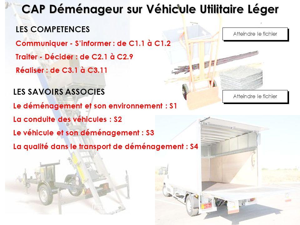 CAP Déménageur sur Véhicule Utilitaire Léger LES COMPETENCES Communiquer - Sinformer : de C1.1 à C1.2 Traiter - Décider : de C2.1 à C2.9 Réaliser : de