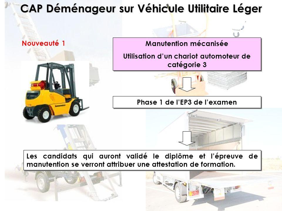 CAP Déménageur sur Véhicule Utilitaire Léger Nouveauté 1 Manutention mécanisée Utilisation dun chariot automoteur de catégorie 3 Manutention mécanisée