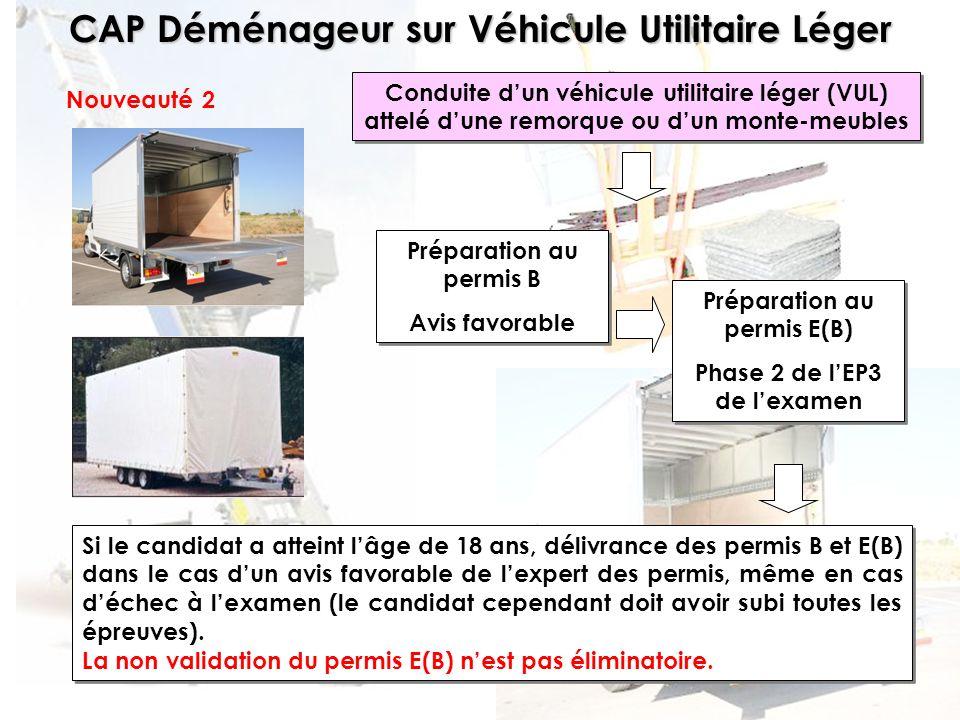 CAP Déménageur sur Véhicule Utilitaire Léger Phase 2 : Conduite dun véhicule Phase réalisée en centre de formation (50 min).