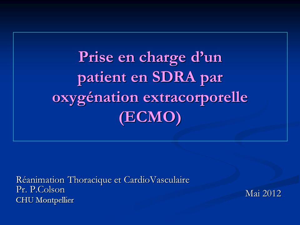 Prise en charge dun patient en SDRA par oxygénation extracorporelle (ECMO) Réanimation Thoracique et CardioVasculaire Pr.