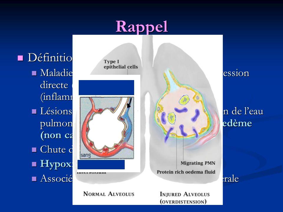 Rappel Définition du SDRA : Définition du SDRA : Maladie pulmonaire consécutive à une agression directe (virus, ex.