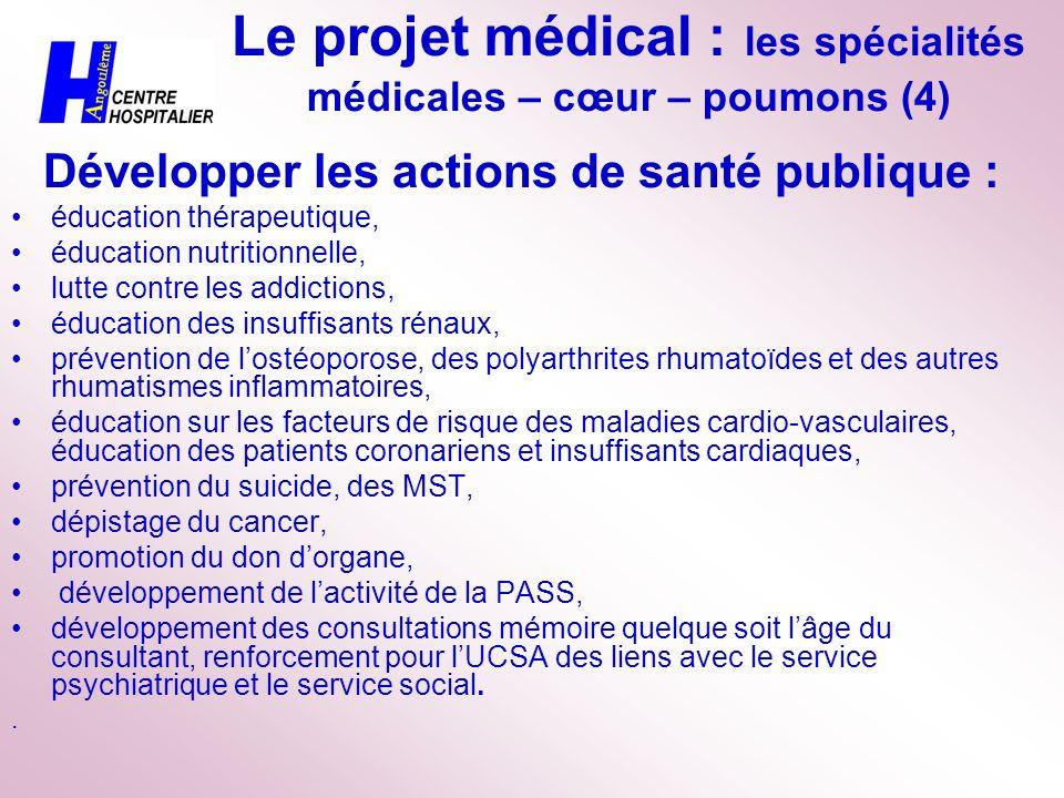 Le projet médical : les spécialités médicales – cœur – poumons (4) Développer les actions de santé publique : éducation thérapeutique, éducation nutri