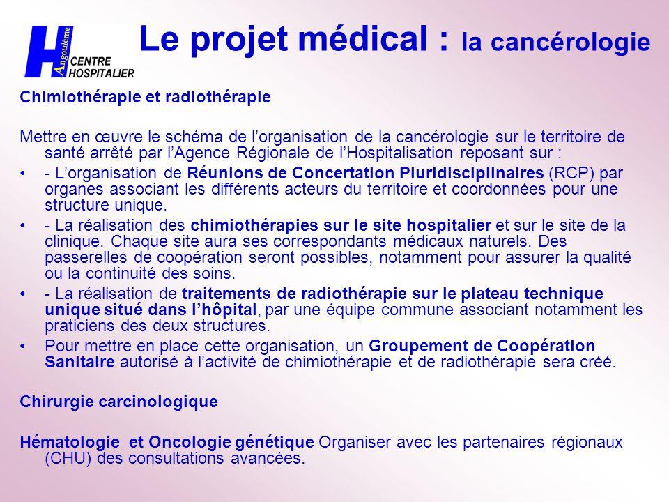 Le projet médical : la cancérologie Chimiothérapie et radiothérapie Mettre en œuvre le schéma de lorganisation de la cancérologie sur le territoire de