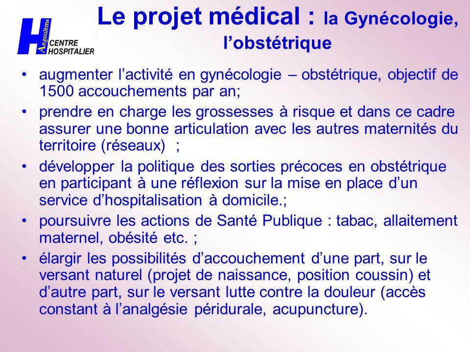 Le projet médical : la Gynécologie, lobstétrique augmenter lactivité en gynécologie – obstétrique, objectif de 1500 accouchements par an; prendre en c