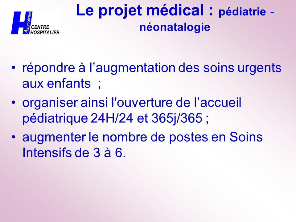Le projet médical : pédiatrie - néonatalogie répondre à laugmentation des soins urgents aux enfants ; organiser ainsi l'ouverture de laccueil pédiatri