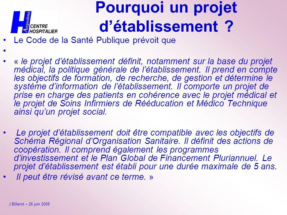Pourquoi un projet détablissement ? Le Code de la Santé Publique prévoit que « le projet détablissement définit, notamment sur la base du projet médic