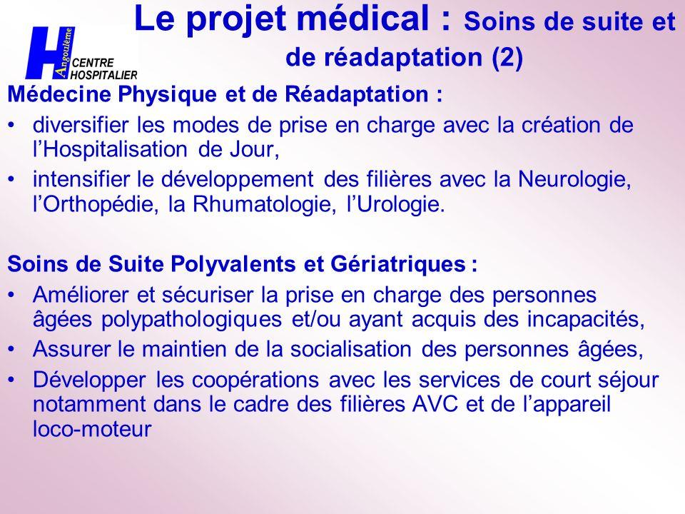 Le projet médical : Soins de suite et de réadaptation (2) Médecine Physique et de Réadaptation : diversifier les modes de prise en charge avec la créa
