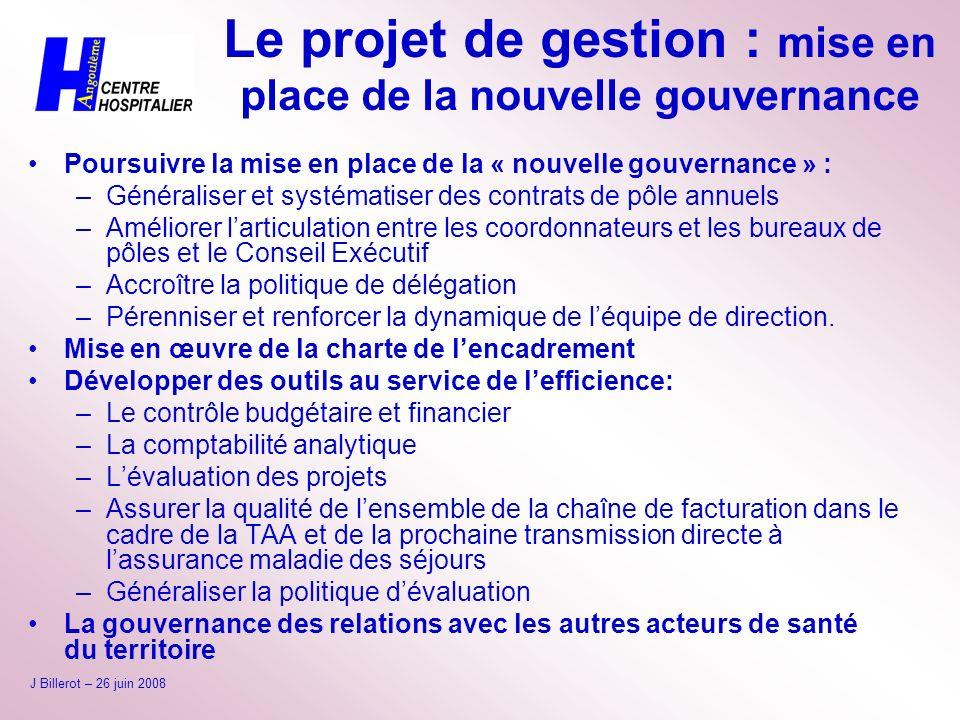 Le projet de gestion : mise en place de la nouvelle gouvernance Poursuivre la mise en place de la « nouvelle gouvernance » : –Généraliser et systémati