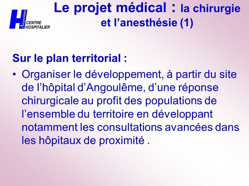 Le projet médical : la chirurgie et lanesthésie (1) Sur le plan territorial : Organiser le développement, à partir du site de lhôpital dAngoulême, dun