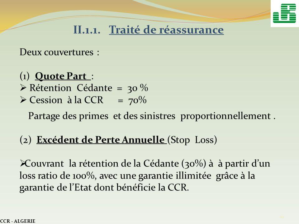 CCR - ALGERIE 10 II.1.1. Traité de réassurance Deux couvertures : (1) Quote Part : Rétention Cédante = 30 % Cession à la CCR = 70% Partage des primes