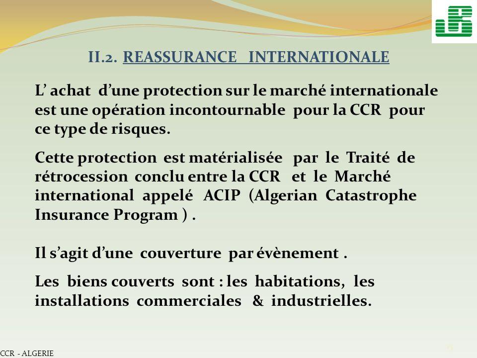 CCR - ALGERIE 15 II.2. REASSURANCE INTERNATIONALE L achat dune protection sur le marché internationale est une opération incontournable pour la CCR po