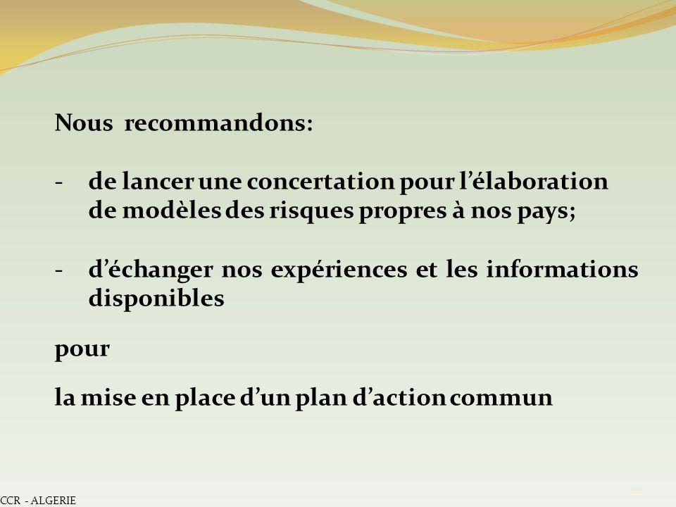 CCR - ALGERIE 22 Nous recommandons: -de lancer une concertation pour lélaboration de modèles des risques propres à nos pays; -déchanger nos expérience