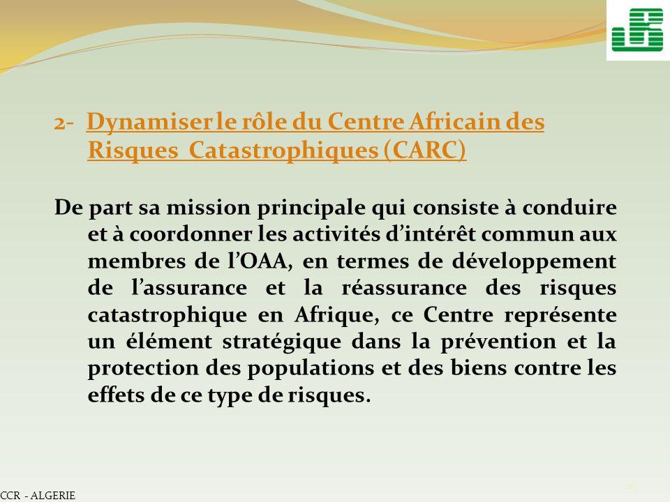 CCR - ALGERIE 23 2- Dynamiser le rôle du Centre Africain des Risques Catastrophiques (CARC) De part sa mission principale qui consiste à conduire et à