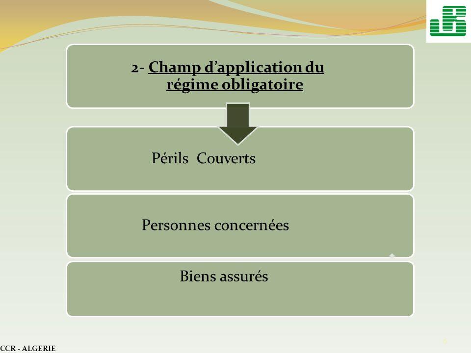 CCR - ALGERIE 7 3- Fonctionnement du régime - Le contrat dassurance - Les tarifs - Le provisionnement - Lindemnisation - Le contrôle de lobligation dassurance