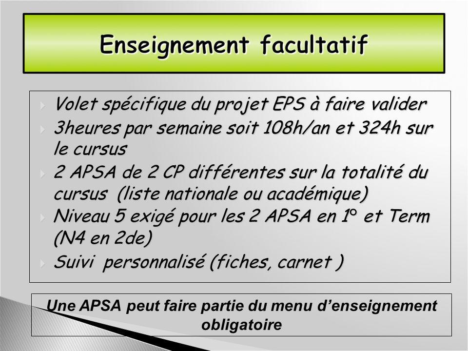 Volet spécifique du projet EPS à faire valider Volet spécifique du projet EPS à faire valider 3heures par semaine soit 108h/an et 324h sur le cursus 3