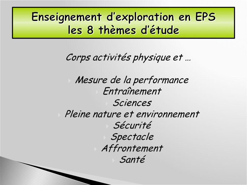 Corps activités physique et … Mesure de la performance Entraînement Sciences Pleine nature et environnement Sécurité Spectacle Affrontement Santé